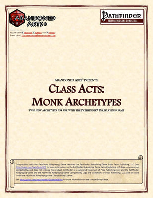 Class Acts: Monk Archetypes