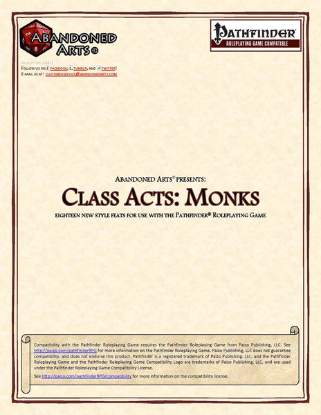 Class Acts: Monks
