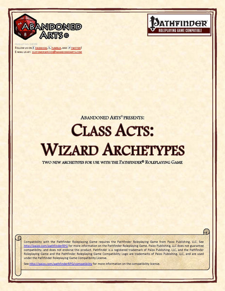 Class Acts: Wizard Archetypes