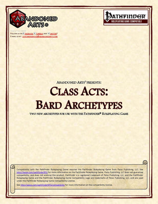 Class Acts: Bard Archetypes