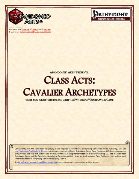 Class Acts: Cavalier Archetypes