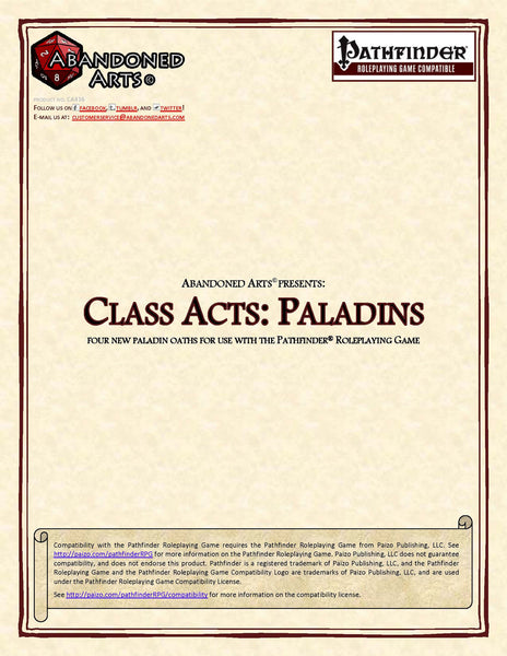 Class Acts: Paladins