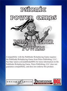 Psionic Power Cards: Psion/Wilder