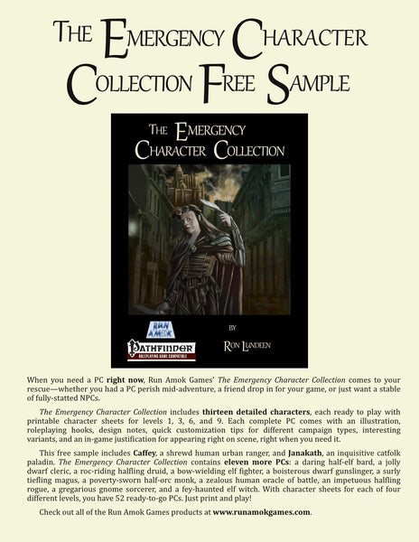 The Emergency Character Collection Free Sample