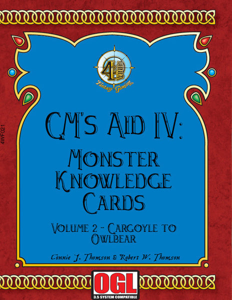 GM's Aid 4: Monster Knowledge Cards Volume 2 - Gargoyle to Owlbear