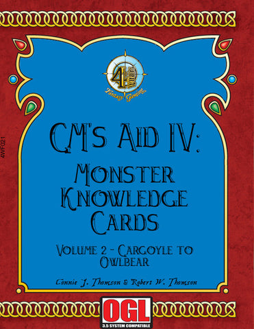 GM's Aid IV: Monster Knowledge Cards Volume II - Gargoyle to Owlbear