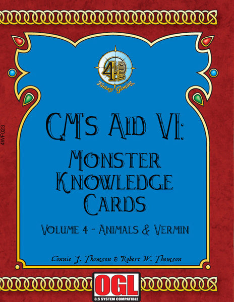 GM's Aid 6: Monster Knowledge Cards Volume 4 - Animals and Vermin