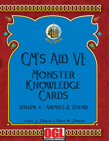 GM's Aid VI: Monster Knowledge Cards Volume IV - Animals and Vermin