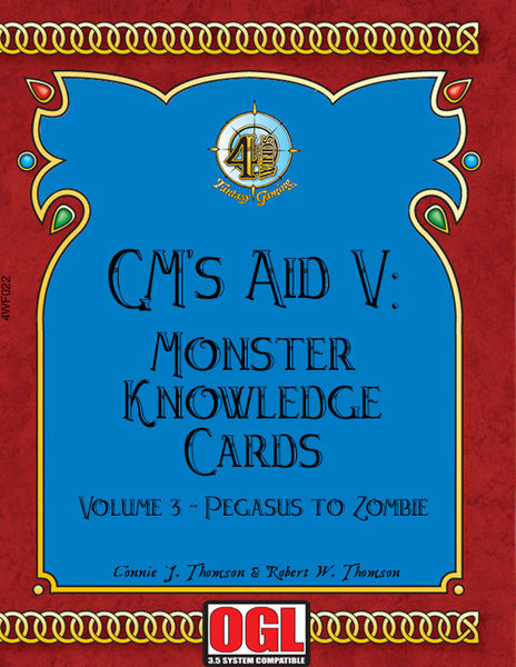 GM's Aid 5: Monster Knowledge Cards Volume 3 - Pegasus to Zombie