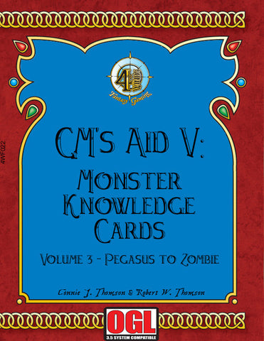 GM's Aid V: Monster Knowledge Cards Volume III - Pegasus to Zombie