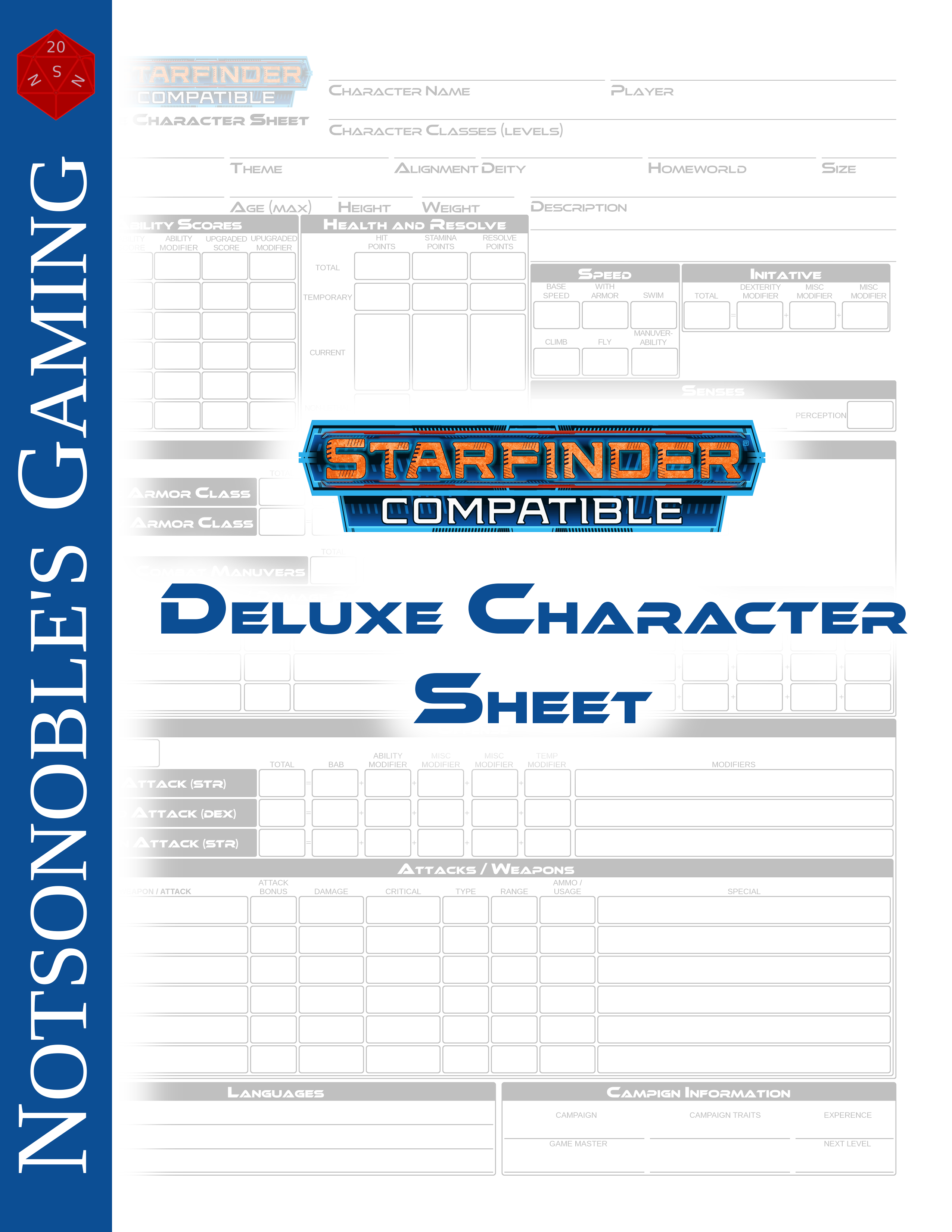 Character information sheet - Starfinder Deluxe Character Sheet