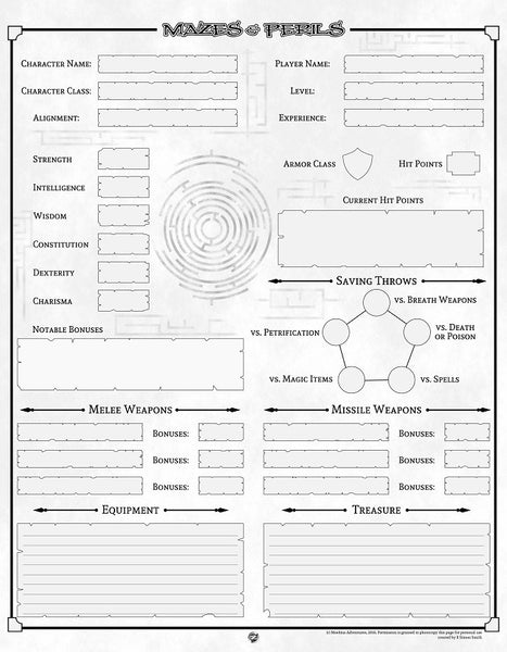 Mazes & Perils: Character Sheet