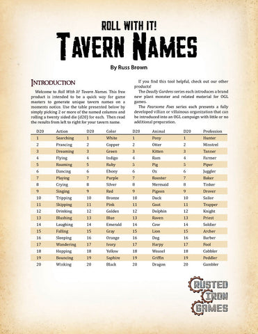 Roll With It! Tavern Names