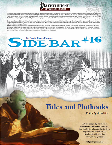 Sidebar #16 - Titles and Plot Hooks