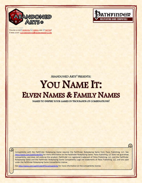 You Name It: Elven Names & Family Names