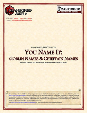You Name It: Goblin Names & Chieftain Names