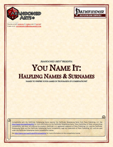 You Name It: Halfling Names & Surnames