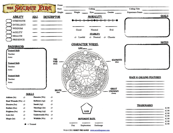 The Secret Fire RPG Character Sheet
