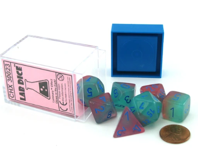 Chessex Lab Dice 3: Gemini Polyhedral Gel Green-Pink/blue 7-Die Set