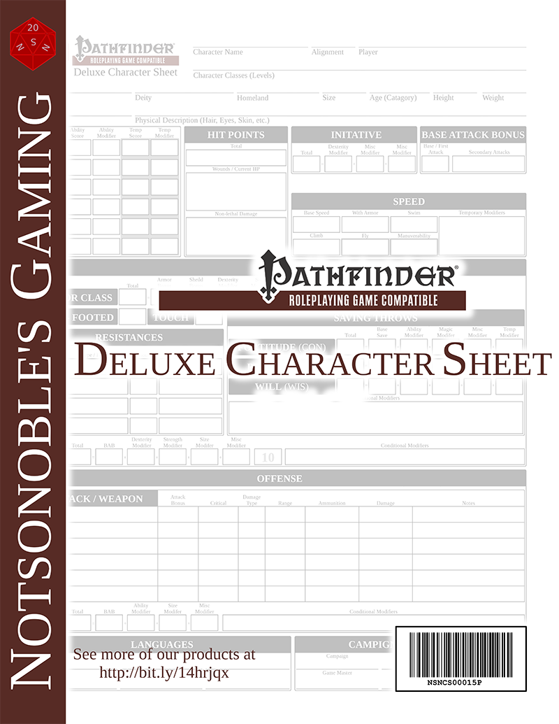 Deluxe Pathfinder Character Sheet (Form-fillable) – Open Gaming Store