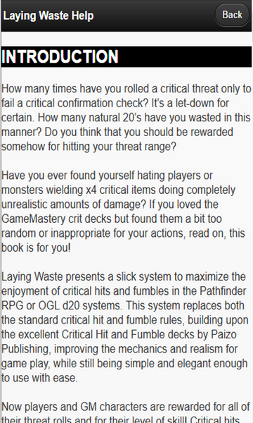 Laying Waste: Critical Hit App