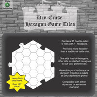 "Dry Erase Dungeon Hex Shaped Tiles (36 5"" tiles)"