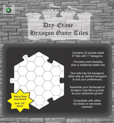 Dry Erase Dungeon Hex Shaped Tiles (36 5