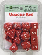 Polyhedral Dice Set: Opaque Red with White Numbers (15)