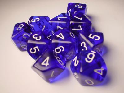 Chessex Dice Sets: Blue/White Translucent d10 Set (10)