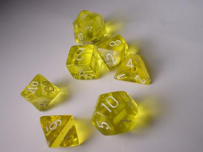Chessex RPG Dice Sets: Yellow/White Translucent Polyhedral 7-Die Set