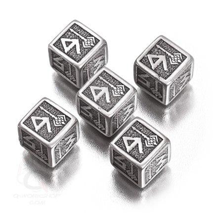 Exotic Dice Sets: Metal Dwarven d6 Dice (5 dice)