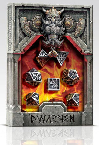 Exotic Dice Sets: Metal Dwarven Dice Set (7 dice)