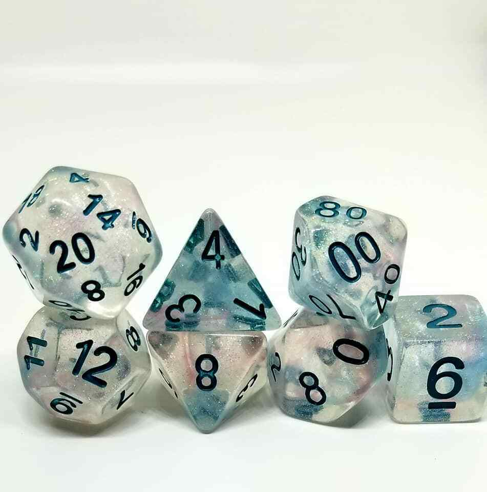 Turquoise Galaxy 7 Dice Set