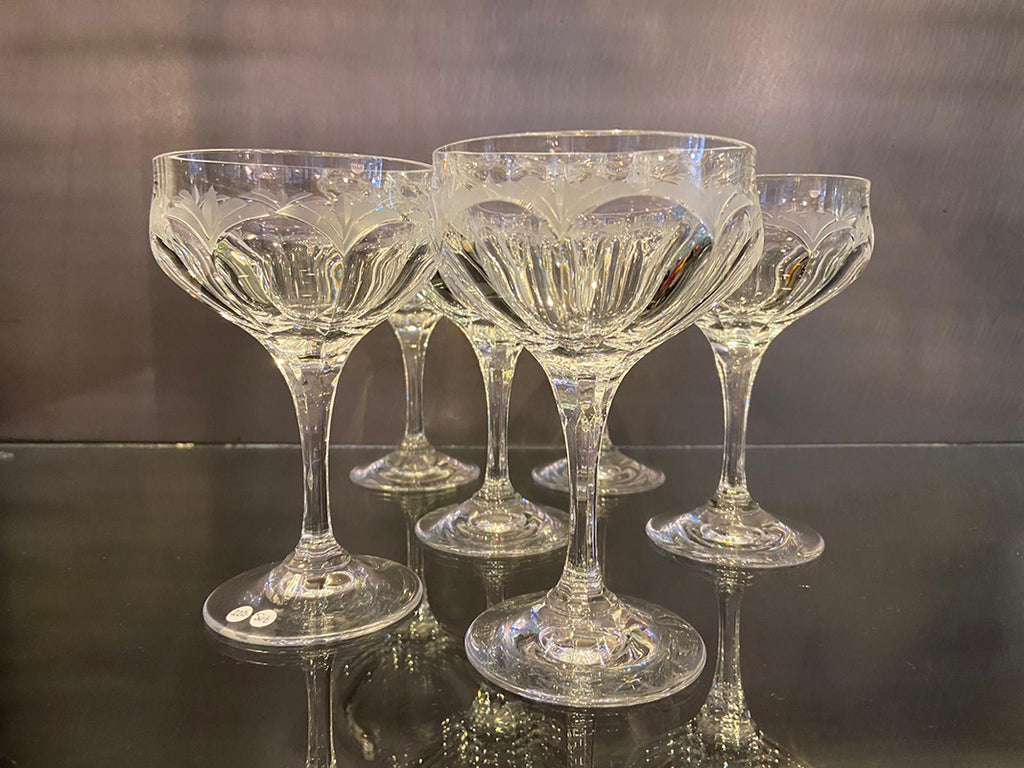 Finest Hand Blown Lead Crystal Champagne Bowls