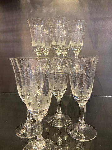 1930s Hand Blown Art Deco Champagne Flutes