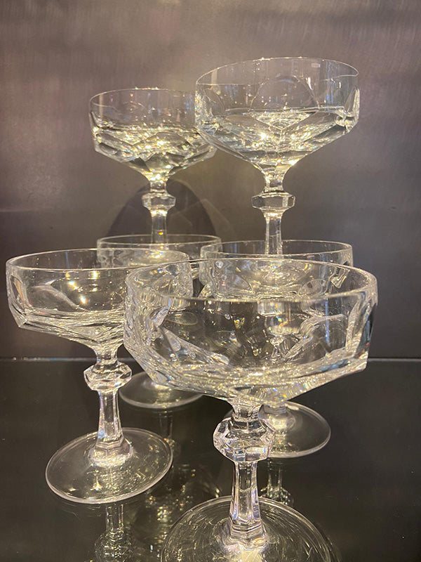 1960s Lead Crystal Champagne Bowls