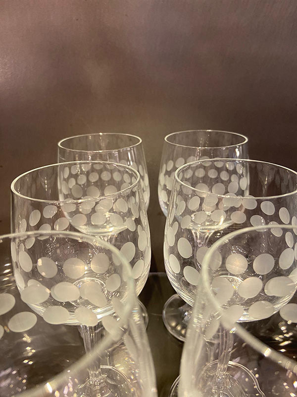 Cool 1960s Tall Wine Glasses Etched Dots