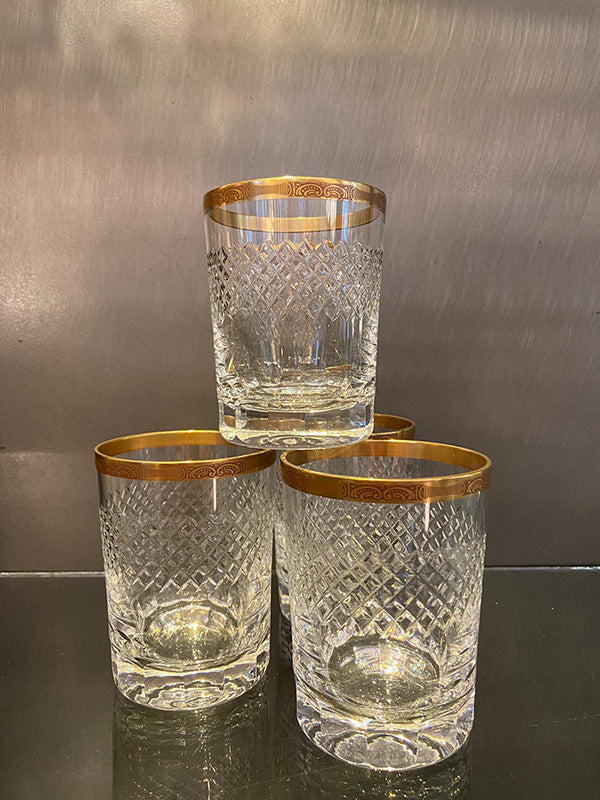 1950s Lead Crystal Gold Rimmed Whisky Glasses