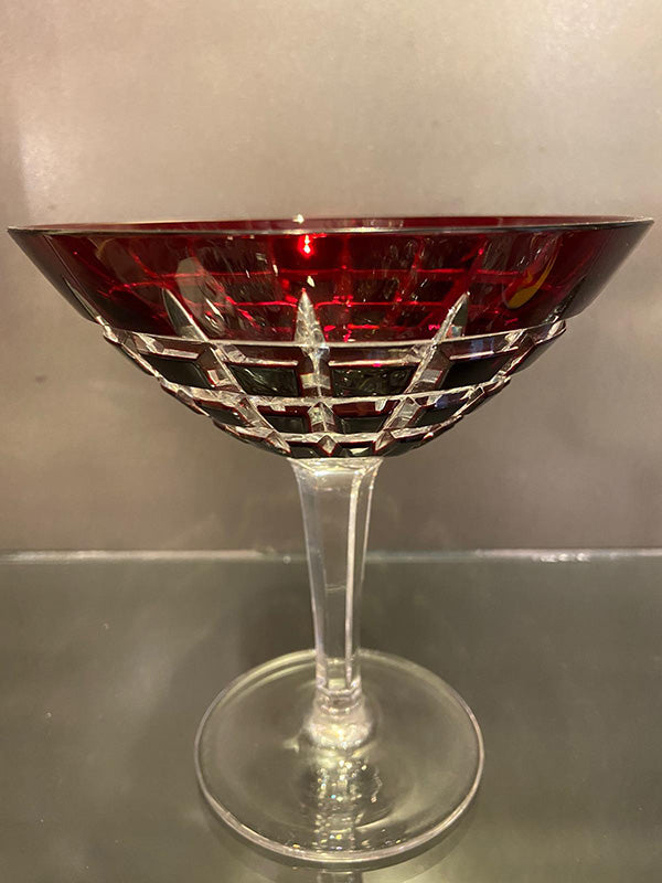 Pair of Art Deco Hand Cut Ruby Cocktail / Champagne Bowls