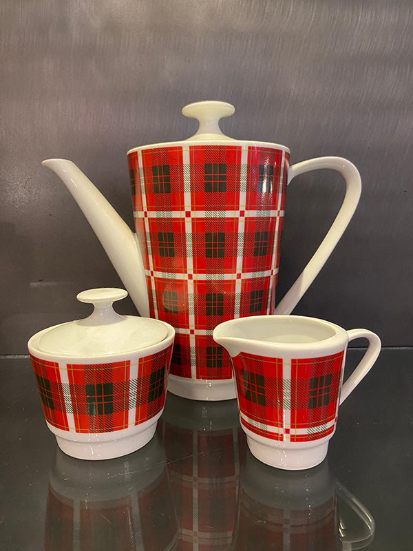 Kompact Mid Century Tartan Dinner & Coffee Set