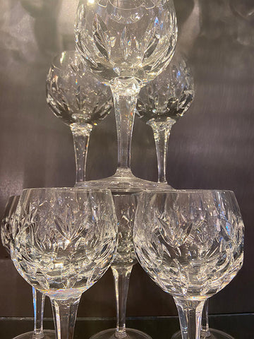 1960s Handblown Lead Crystal Wine Glasses Set 8