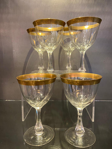 1930s Hand Blown Gold Rim Wine Glasses