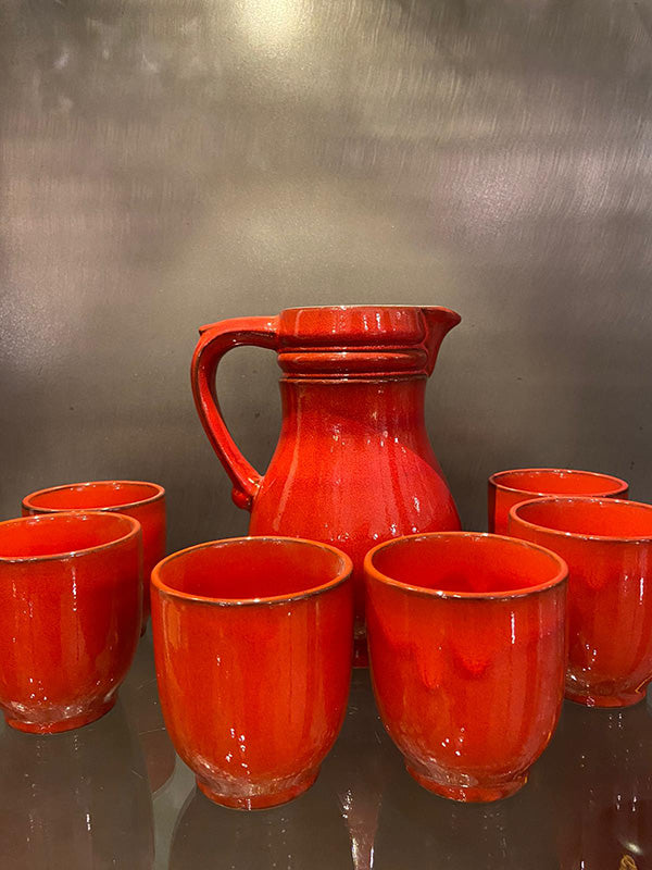 Red Ceramic Water Jug & Beakers