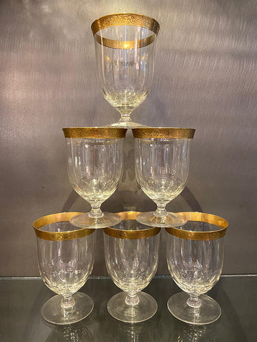 1930s Hand Blown Gold Rim Glasses