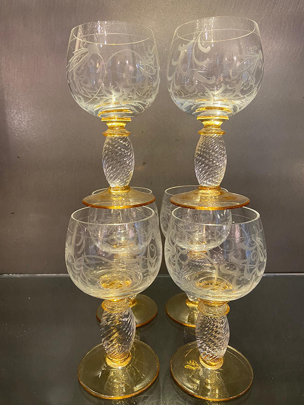 1930s Hand Blown Port / Dessert Wine Glasses