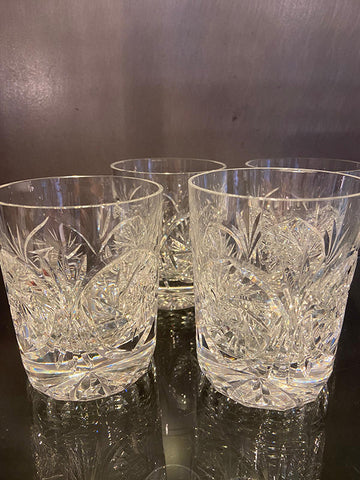 Pair Of Heavy Lead Crystal Whisky Tumblers