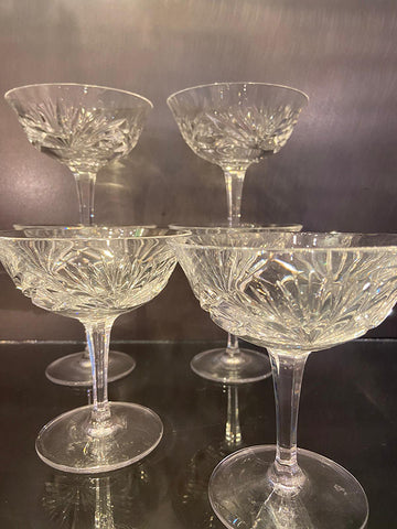 Hand Blown Lead Crystal Champagne Coupes