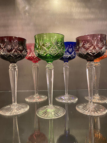 1930s Coloured Tall Stem Wine Glasses