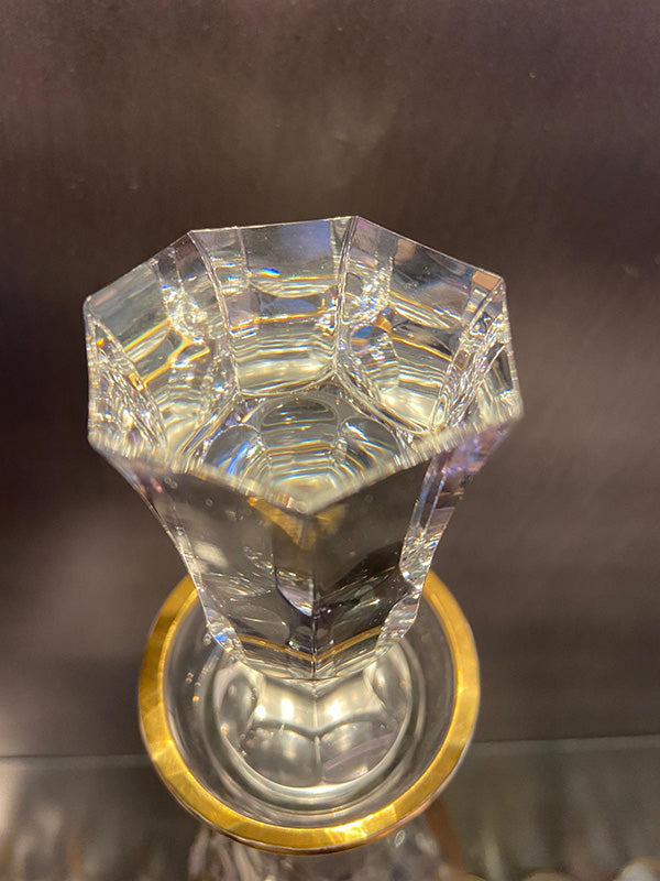 1950s Decanter Hand Cut Lead Crystal Etched & Gilded