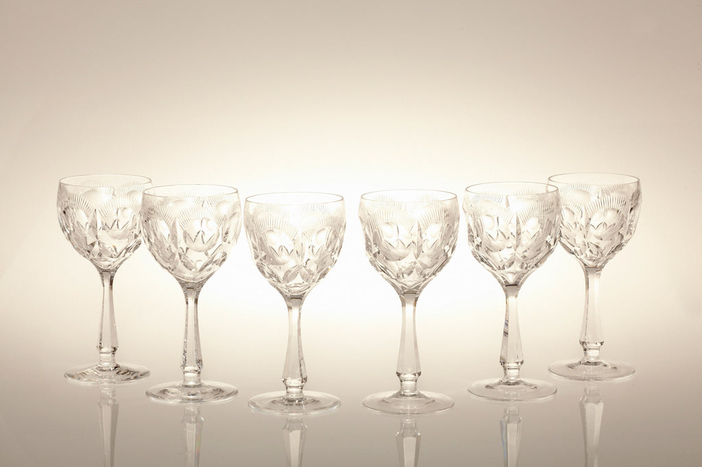 1920s Finest Lead Crystal Wine Glasses
